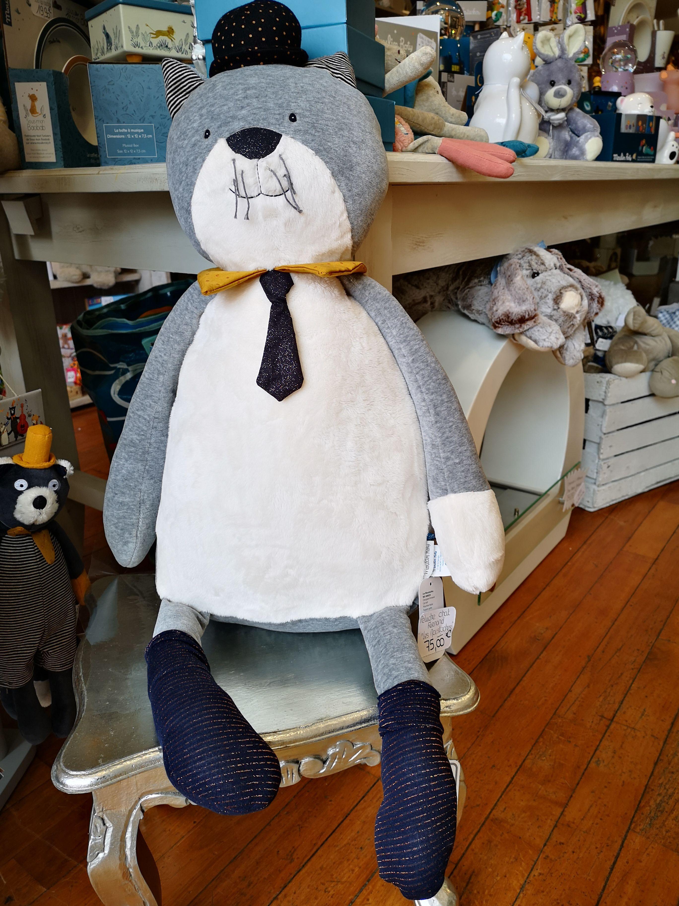 Peluche géante chat gris clair Fernand Les Moustaches Moulin Roty