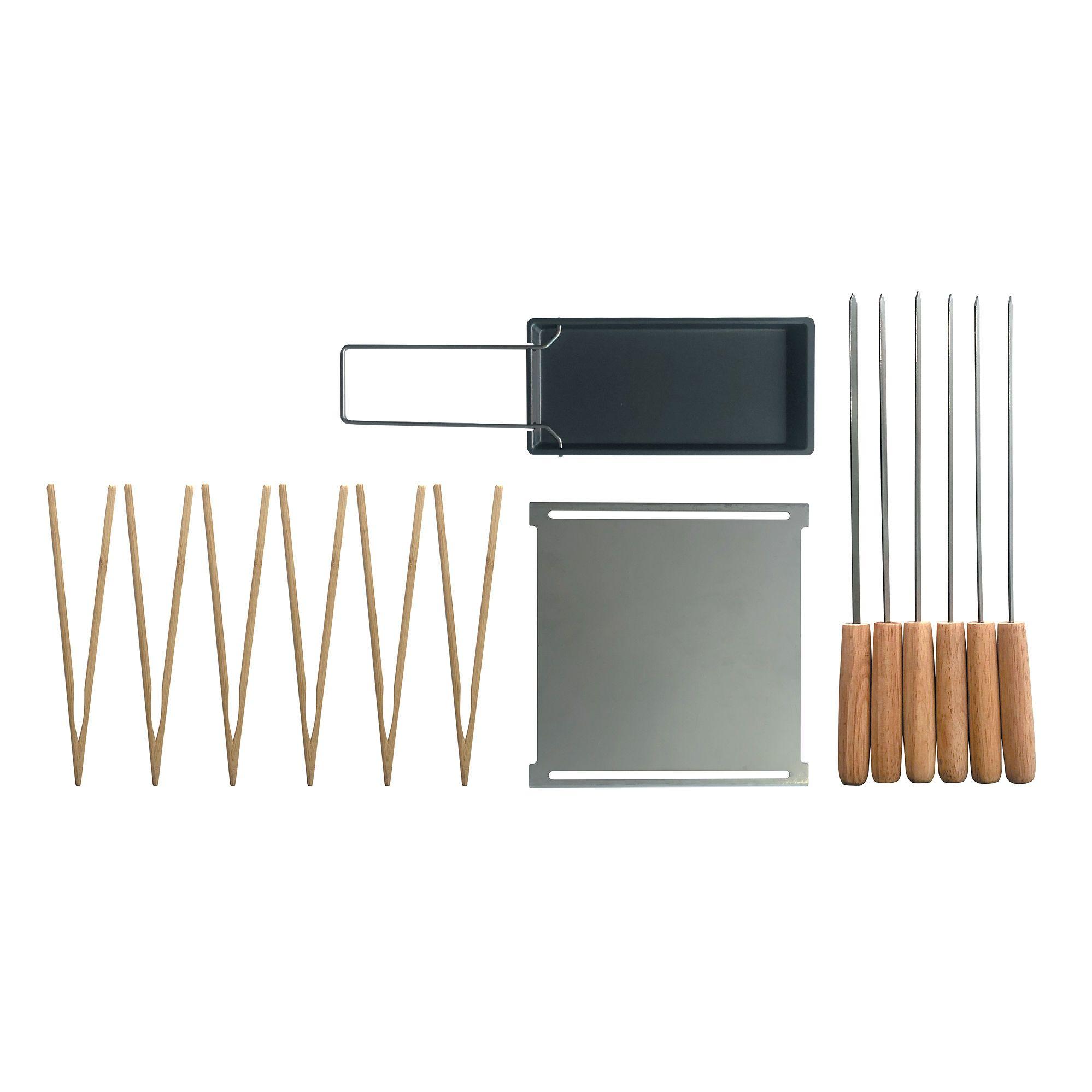 Set d'accessoires / Pour barbecue Yaki - Plancha, poêle raclette, brochettes, pinces - Cookut